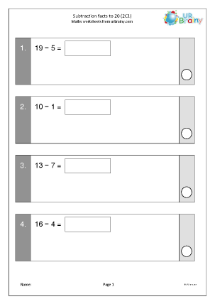 Preview of worksheet Subtraction facts to 20 (2C1)