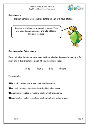 Preview of worksheet Determiners: demonstrative