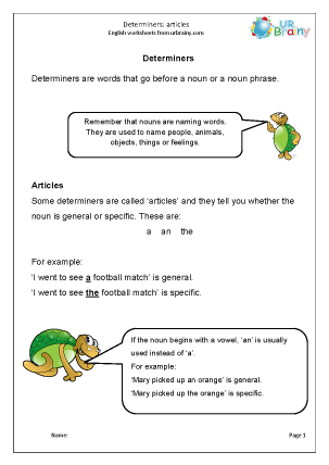 Preview of worksheet Determiners: articles