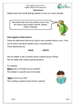 Preview of worksheet Determiners: interrogative