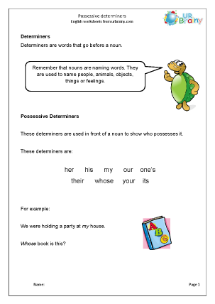 Preview of worksheet Determiners: possessive