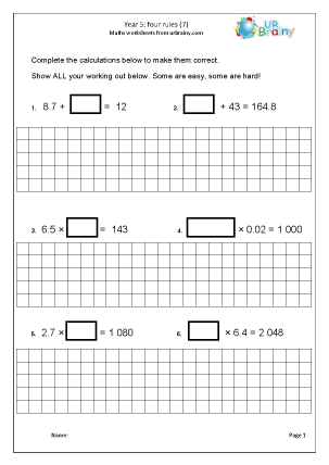 Preview of worksheet Four Rules (7)