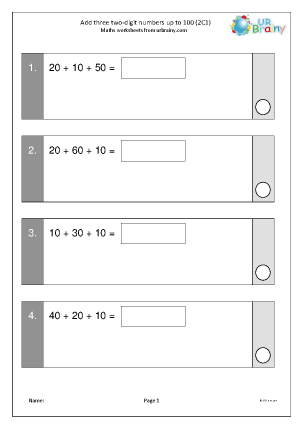 Preview of worksheet Add three 2-digit numbers up to 100 (2C1)