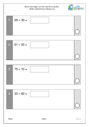 Preview of worksheet Add a 2-digit number and tens (2C2b)