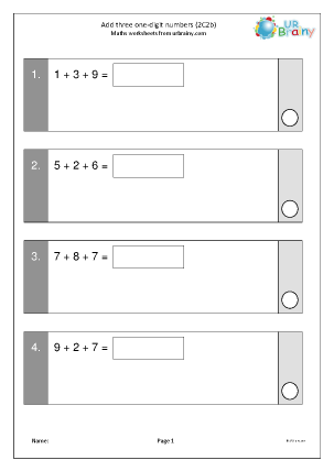 Preview of worksheet Add three 1-digit numbers (2C2b)