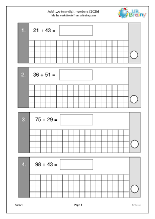 Preview of worksheet Add two 2-digit numbers 2C2b)