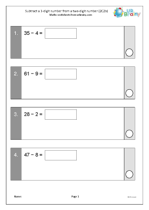 Preview of worksheet Subtract a 1-digit number from a 2-digit number (2C2b)