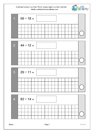 Preview of worksheet Subtract a teen from a 2-digit number (2C2b)