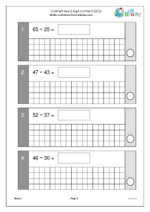 Preview of worksheet Subtract two 2-digit numbers (2C2b)