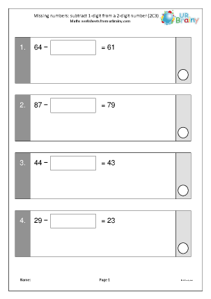 Preview of worksheet Missing numbers: subtract 1-digit from 2-digits (2C3)