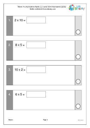 Preview of worksheet Multiplication facts: 2, 5 and 10 times tables 2 (2C6)