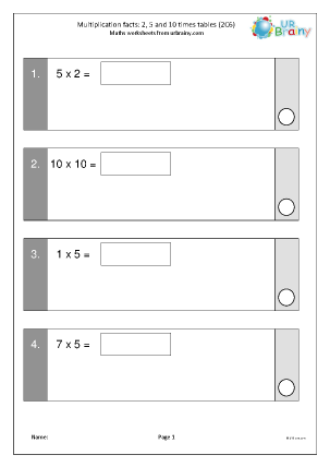 Preview of worksheet Multiplication facts: ,2 5 and 10 times tables 1 (2C6)