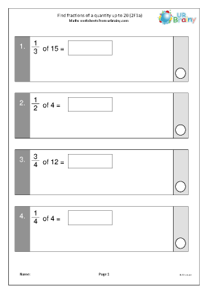Preview of worksheet Find fractions of a quantity, up to 20 (2F1a)