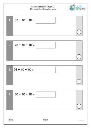 Preview of worksheet Count In steps of ten: subtraction (2N1)