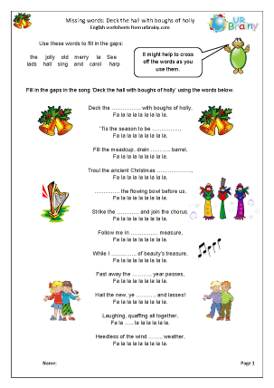 Preview of worksheet Missing words: Deck the Hall with Boughs of Holly