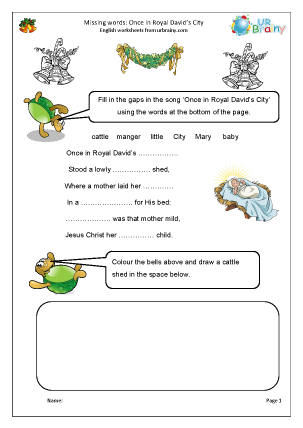 Preview of worksheet Missing words: Once in Royal David's City