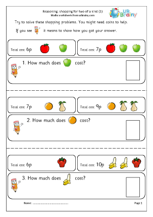 Preview of worksheet Reasoning: shopping two of a kind (1)