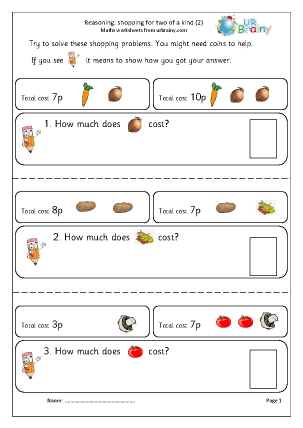 Preview of worksheet Reasoning: shopping two of a kind (2)