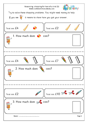 Preview of worksheet Reasoning: shopping two of a kind (3)