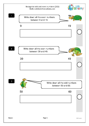 Preview of worksheet Recognise odd and even numbers (2C6)