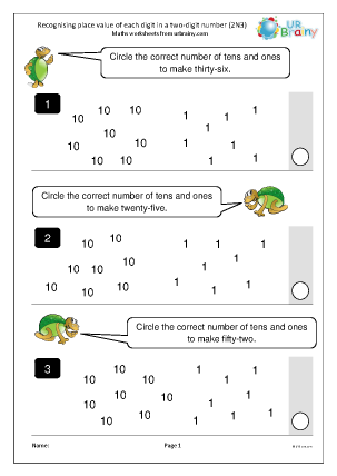 Preview of worksheet Recognise place value in a 2-digit number (2N3)