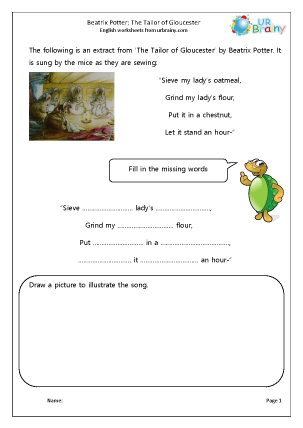 Preview of worksheet Tailor of Gloucester: easy comprehension