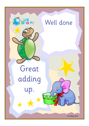 Preview of worksheet Well Done Great Adding Up - Certificate