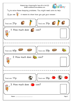 Preview of worksheet Reasoning: shopping (2)