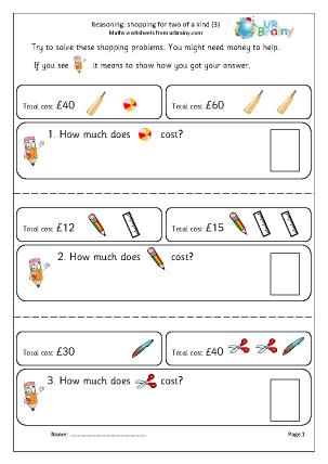 Preview of worksheet Reasoning: shopping (3)