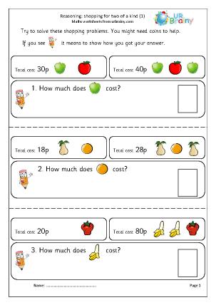 Preview of worksheet Reasoning: shopping (1)