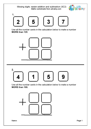 Preview of worksheet Missing digits: easier addition and subtraction (3C2)