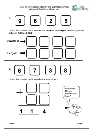 Preview of worksheet More missing digits (4C2)