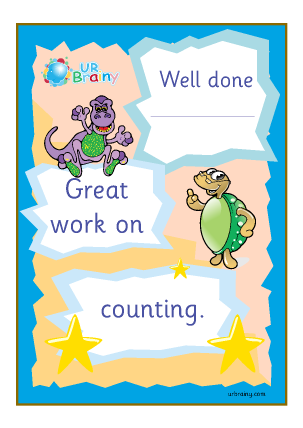 Preview of worksheet Well Done Great Work On Counting - Certificate