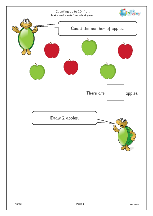 Preview of worksheet Counting up to 10 - fruit