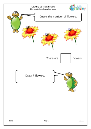 Preview of worksheet Counting up to 10 - flowers