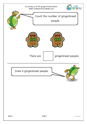 Preview of worksheet Counting up to 10 - gingerbread people
