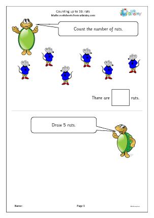Preview of worksheet Counting up to 10 - rats