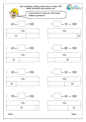 Preview of worksheet Bar modelling: adding whole tens to make 100