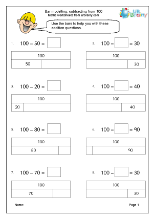 Preview of worksheet Bar modelling: subtracting from 100
