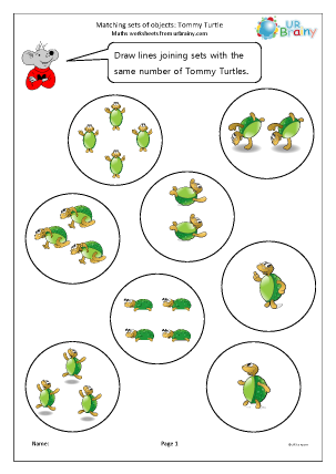 Preview of worksheet Matching sets of Tommy Turtle