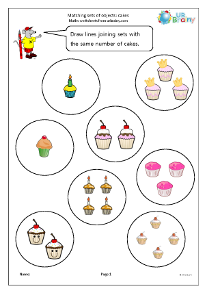 Preview of worksheet Matching sets of cakes