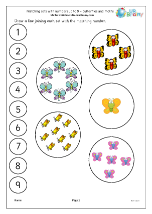 Preview of worksheet Matching butterflies and moths to a number line