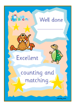 Well Done Excellent Counting And Matching - Certificate