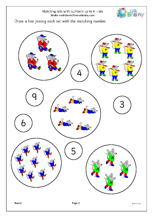 Preview of worksheet Matching sets to numbers: rats
