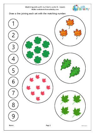 Preview of worksheet More matching leaves to a number line