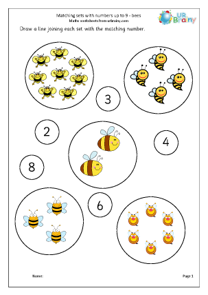 Preview of worksheet Matching sets to numbers: bees