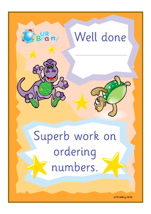 Preview of worksheet Well Done Superb Work On Ordering Numbers - Certificate