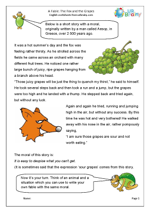 Preview of worksheet The fox and the grapes