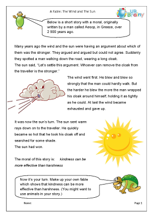 Preview of worksheet The wind and the sun