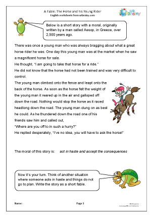 Preview of worksheet The horse and the rider